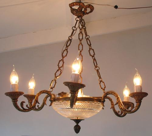 Chandeliers - Antique French Bronze Baccarat-signed Crystal Empire ...