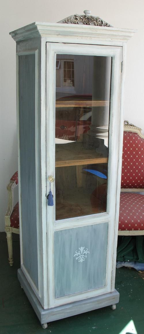 Tall Vintage Wooden Painted Rustic Display Cabinet With Shelves And A Glass  Front