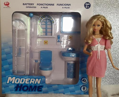 Blue Modern Bathroom Set For Barbie Dolls