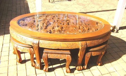 Tables Vintage Teak Hand Carved Chinese Coffee Table With Six