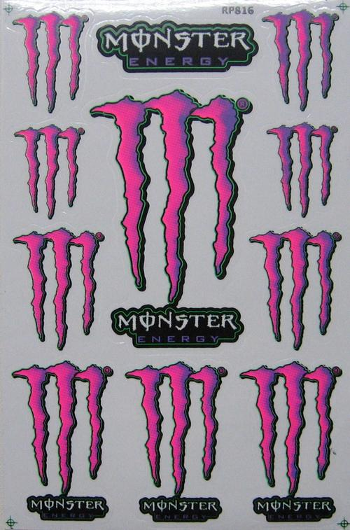 Vinyl Stickers Monster Energy Pink Sheet With 18 Stickers