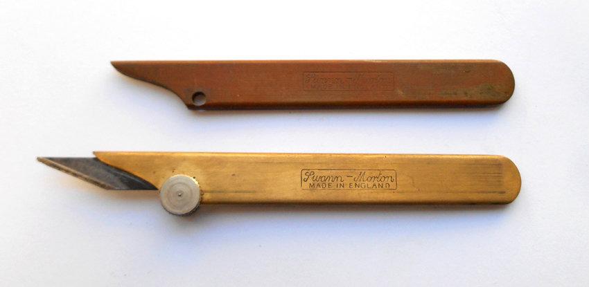 Tools 2 x vintage swann morton brass craft knife for Swann morton craft knife