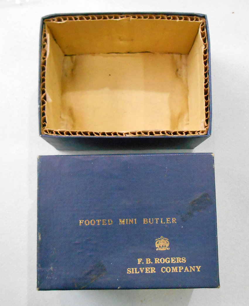 Antique / vintage F.B. Rogers Silver company Footed mini butler, silver plated.