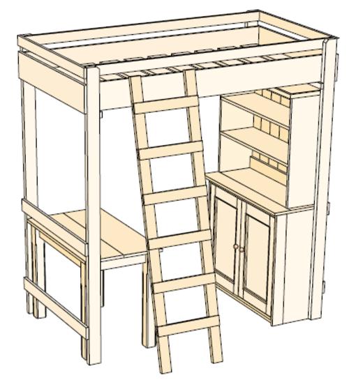 crafts hobbies woodwork plan for pine bunk bed desk cupboard bookshelf children aged 6. Black Bedroom Furniture Sets. Home Design Ideas