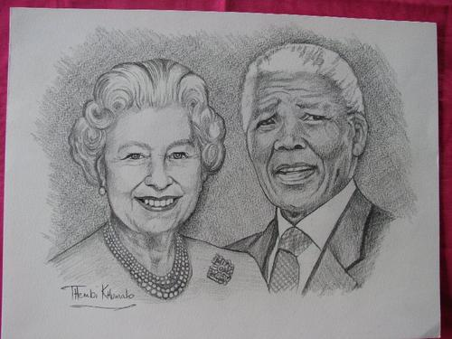 Collections sets pencil sketch of mandela and queen elizabeth by thembi khumalo was sold for r700 00 on 5 aug at 2000 by mustlovebooks in pretoria