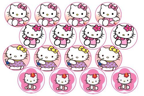 Cake decorating hello kitty edible picture cupcake for Hello kitty cupcake topper template