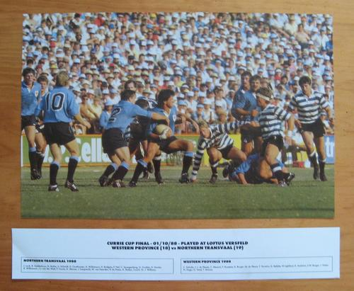 Rugby Gloss Photo 1988 Currie Cup Final Northern Transvaal Vs