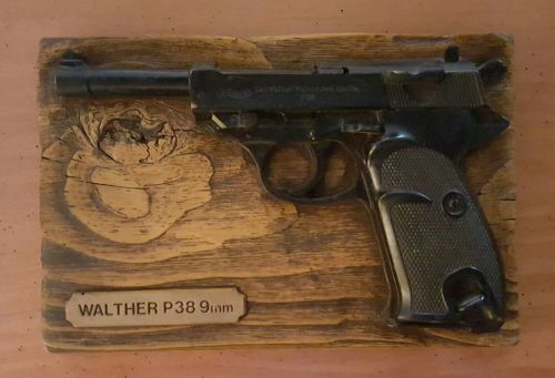 plaques walther p38 9mm wall mount plaque made from. Black Bedroom Furniture Sets. Home Design Ideas
