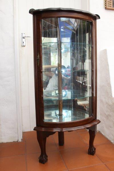 EXQUISITE ANTIQUE CURVED GLASS BALL & CLAW CORNER SHOWCASE w STUNNING  DETAIL!!! - Cabinets - EXQUISITE ANTIQUE CURVED GLASS BALL & CLAW CORNER