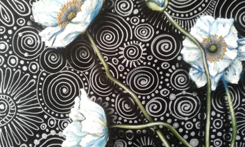 close ups of original acrylic painting by south african artist