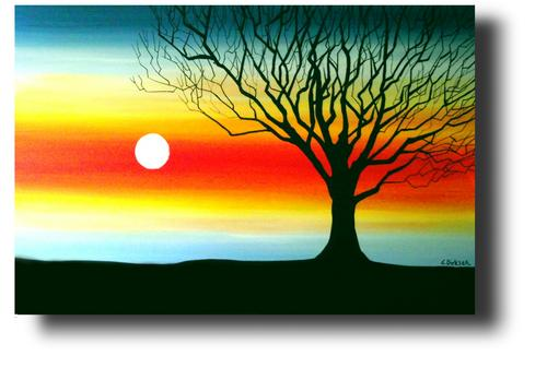 Title Tree Silhouette Artist Cherie Dirksen Medium Acrylic On Canvas Loose Unstretched