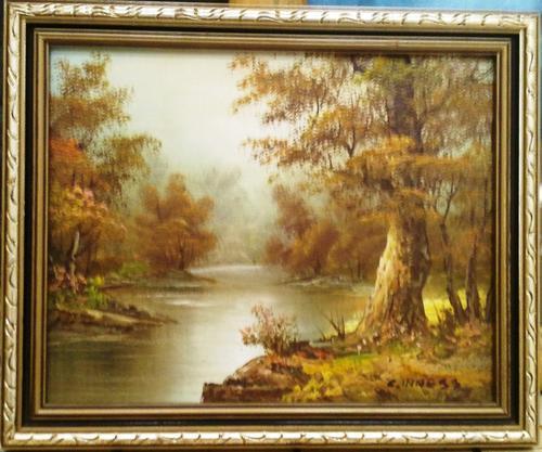 Oils Framed Original Painting On Canvas Board Landscape