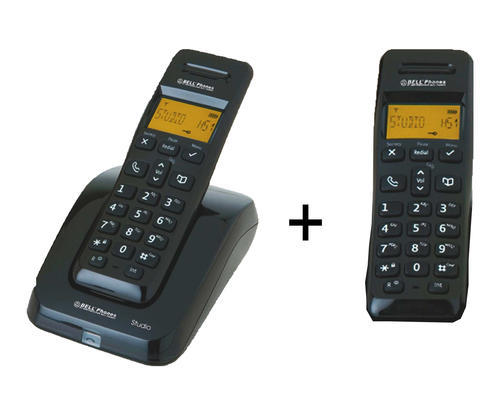 Telephones bell cordless twin phone set one base two phones.