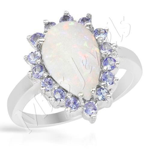 Rings Natural Opal and Tanzanite Engagement Ring in 925 Sterling Silver Si
