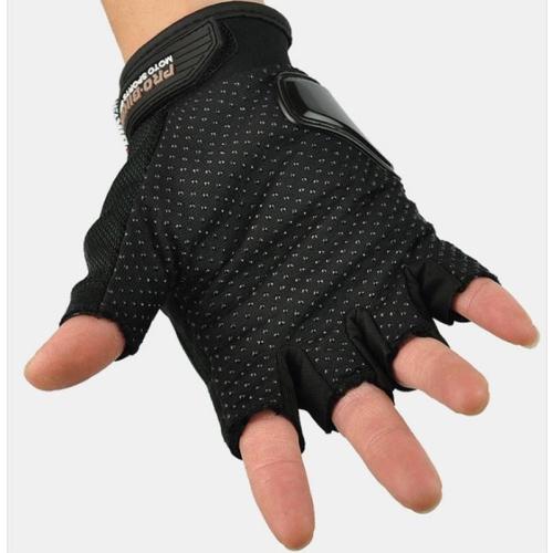 Road Gloves Genuine Pro Biker Open Finger Black Gloves