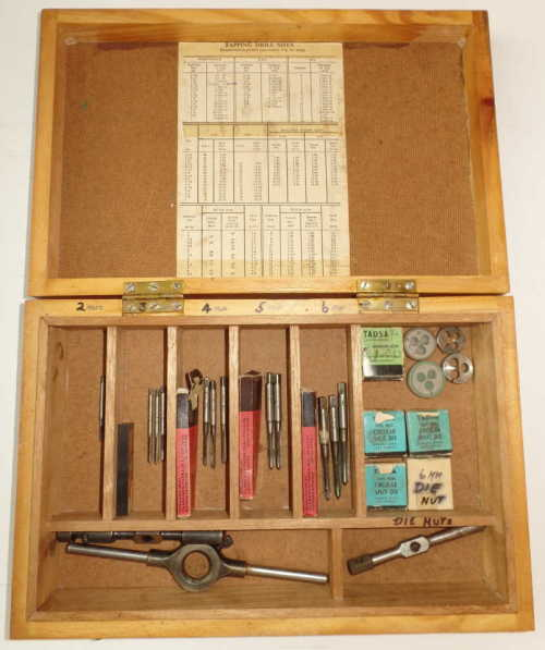 VINTAGE TAP & DIE SET IN WOODEN BOX
