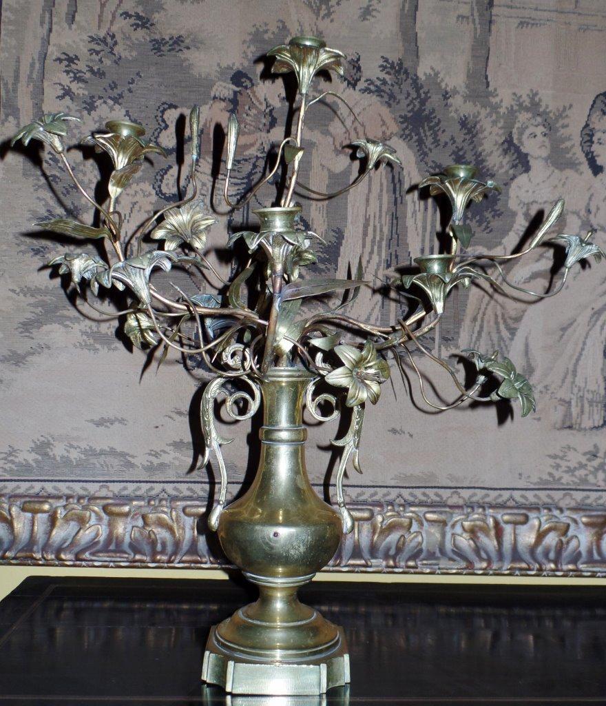 Pair of Antique French Louis XVI Style Bronze & Gilt 5-light Candelabra