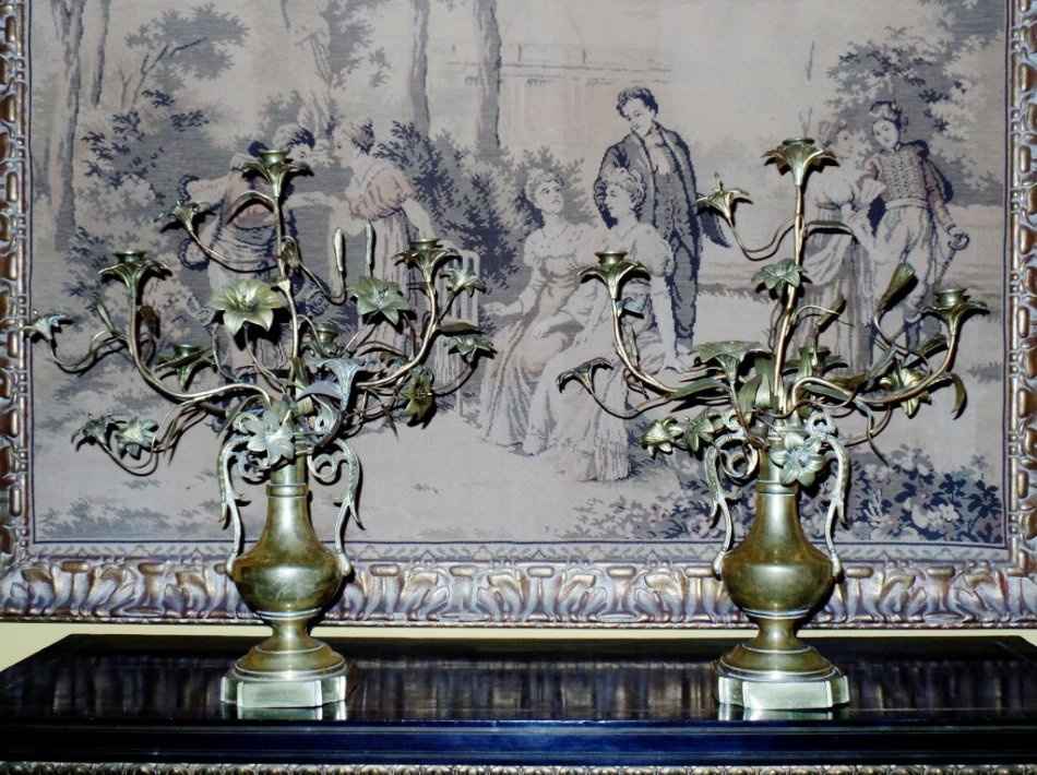 Pair of Antique French Louis XVI Style Bronze & Gilt 5-light Candelabra