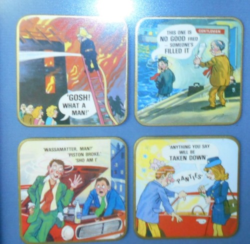 Vintage Set of 6 Risque Comic Cork Drinks Coasters
