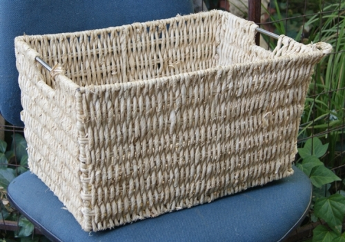 How To Make A Woven Grass Basket : Baskets weaving large woven grass basket with metal