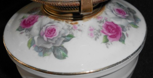 Vintage Porcelain Base Paraffin Table Lantern Lamp