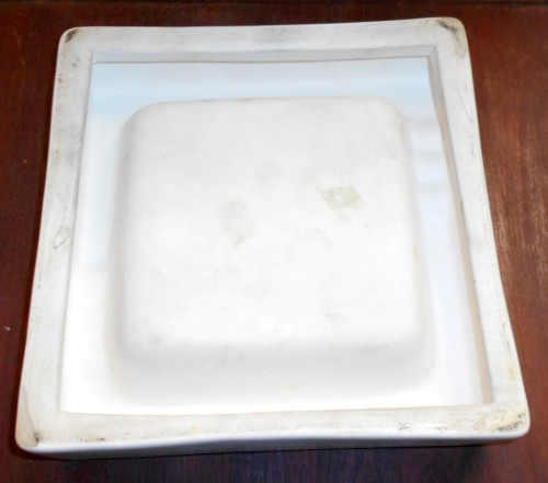 Large Square Brown and White Ceramic Ashtray