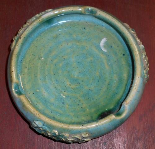 Vintage Green Stoneware Ashtray