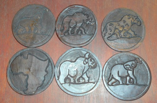 Hand Carved Set of 6 Coasters and Stand