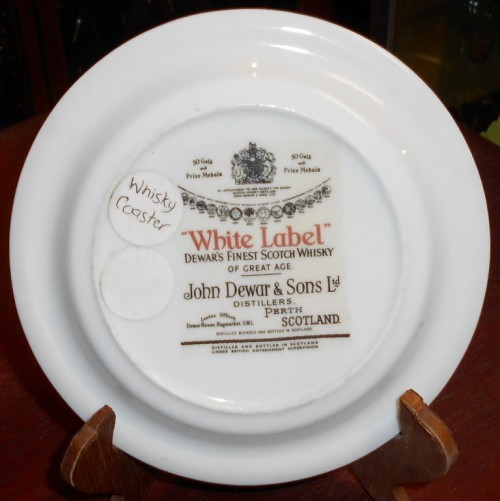 Dewar's White Label Scotch Whiskey Porcelain Coaster