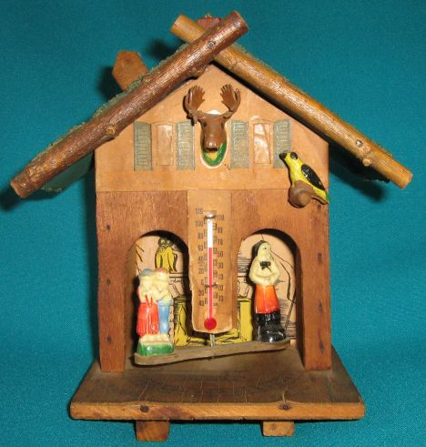 OLD WOODEN WEATHER HOUSE/ WEATHERMAN (HYGROMETER)