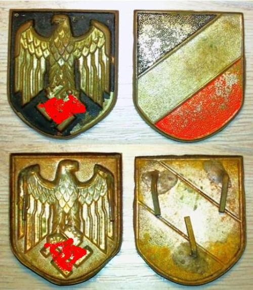 Original Pair of WW2 German DAK Pith Helmet Badges