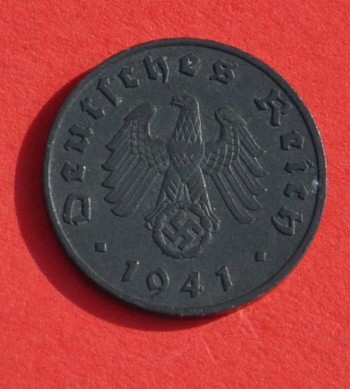 DEUTSCHES REICH 1 REICHSPFENNIG 1941 A - ORIGINAL Rare German 3rd Reich  100% Zinc Coin TOP CONDITION