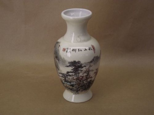 Chinese Lobed Vase with Hand Painted Landscape, Calligraphy & Crackle Glaze Background ~ Signed