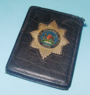 South African Police Services Old Black Sap Wallet With