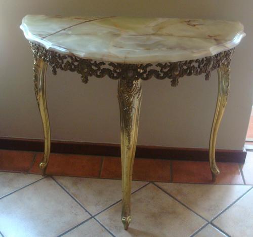 Vintage Halfmoon Marble Table And Mirror Br Frames 60 S