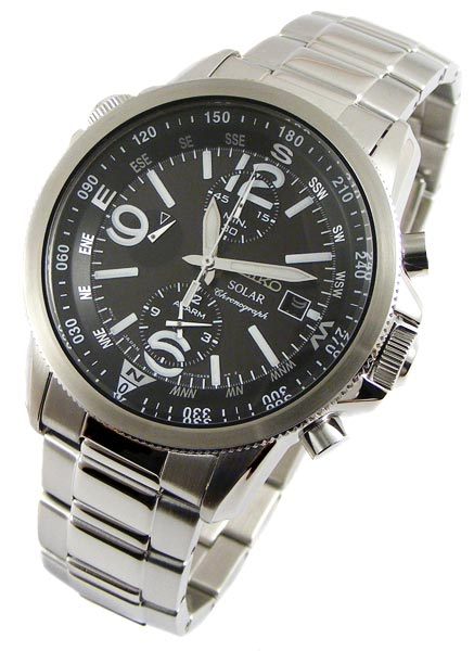 men 39 s watches seiko solar internal compass alarm. Black Bedroom Furniture Sets. Home Design Ideas