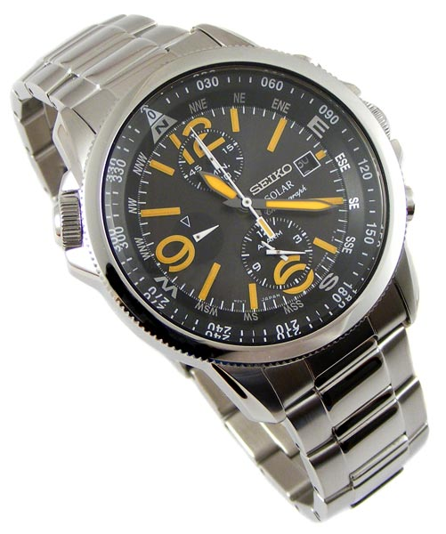 s watches seiko solar compass alarm