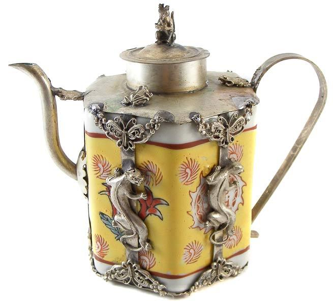 Oriental Vintage Handcrafted Tibetan Porcelain Silver