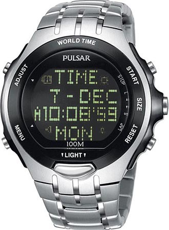 Men S Watches Pulsar By Seiko Digital World Time Alarm