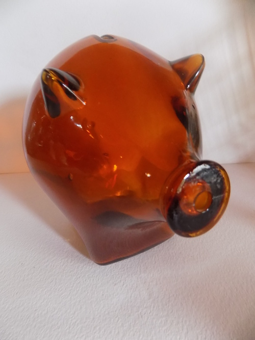 Other Glassware Abstract Design Large Glass Piggy Bank