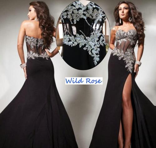 Formal Dresses Black Silver Evening Ball Party Matric Dance