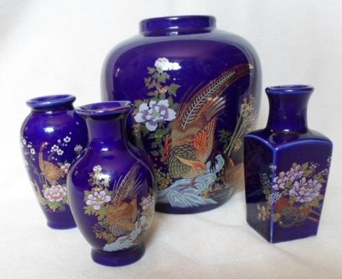 Oriental Porcelain Four Exquisite Decorative Cobalt Blue Japanese