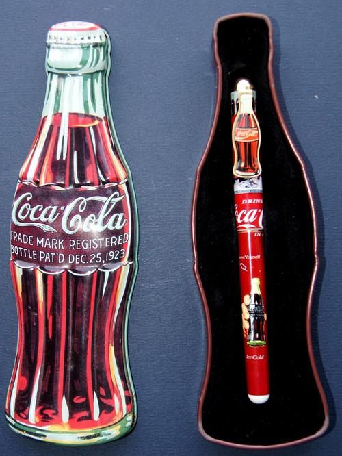 Advertising Coca Cola Pen In Coke Shaped Tin From 1996 Very Good Condition Was Sold For