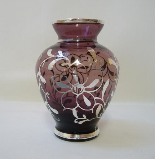 Ashtrays Vintage Venetian Amethyst Glass Silver Overlay Vase Was