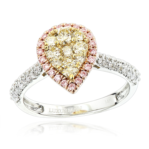 Wedding Rings Natural white pink yellow diamond engagement ring in 14K gold