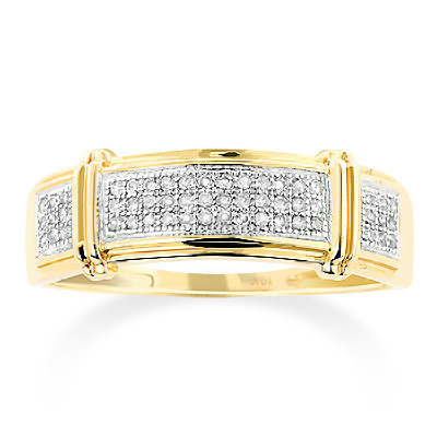 Yellow Gold Men S Diamond Wedding Band 0 18 Ct 10k