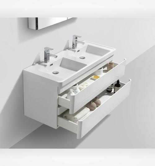 stunning double bathroom vanity 1200 mm length 2 soft closing drawers brilliant white - Bathroom Cabinets Johannesburg
