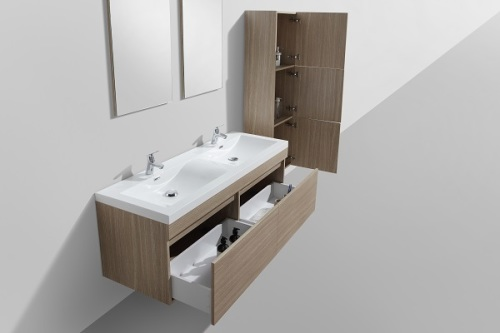 double bathroom vanity cabinet body with 2 soft closing drawers wall