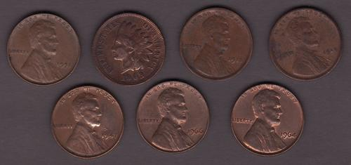 USA 7 Old 1 Cent Coins Ranging from 1903 - 1966 Some Cleaned