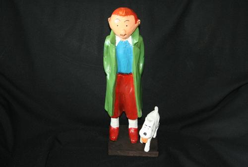 Tintin Snowy Large Handcarved Wooden Figures Rare And Beautiful